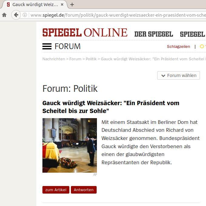 Gauck würdigt Weizsäcker: Ein Präsident vom Scheitel bis zur Sohle - Forum SPIEGEL ONLINE