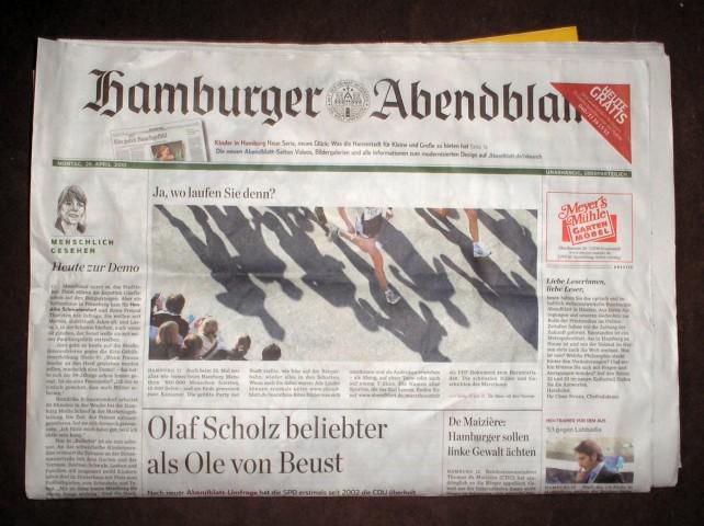Gratis-Ausgabe des Hamburger Abendblatts vom 26. April 2010